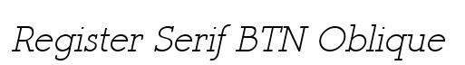 Register Serif BTN Oblique